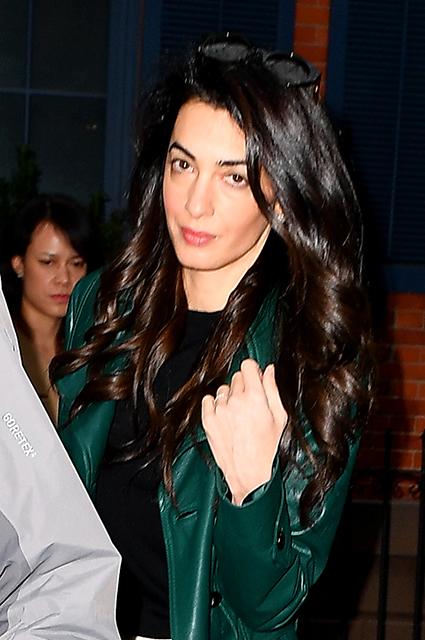 Street style Amal Clooney: Michael Kors leather coat, Jimmy Choo